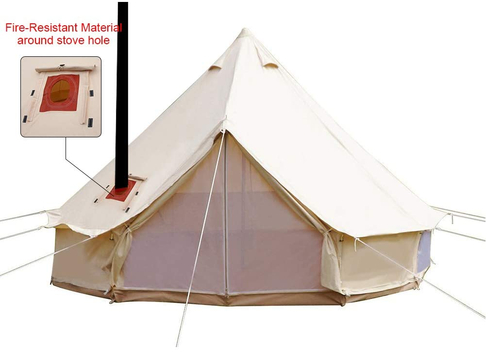 PlayDo 4-Season Waterproof Cotton Canvas Bell Tent Wall Yurt Tent with Stove Hole